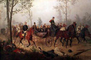 Otto von Bismarck escorts Emperor Napoleon III